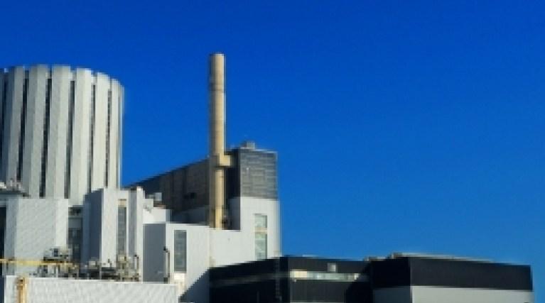 Nuclear power station against a blue sky