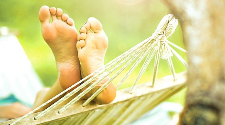 Switching is as simple as 1, 2, 3 - Feet up in a hammock