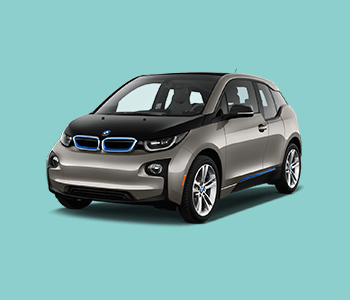 BMW i3 on cyan background