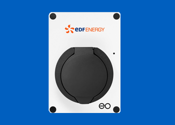 EO Mini Pro electric vehicle charger on blue background