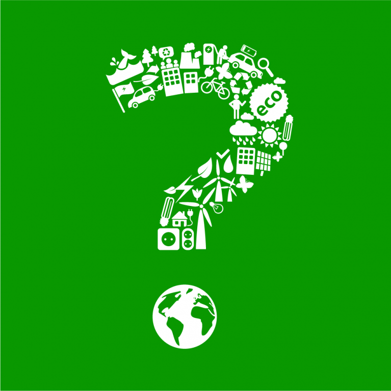 Question mark made up of electric cars and other low carbon objects