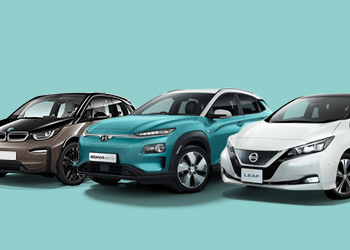 electric vehicle range on cyan background