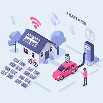 Diagram of a smart grid using an electric vehicle for microgeneration