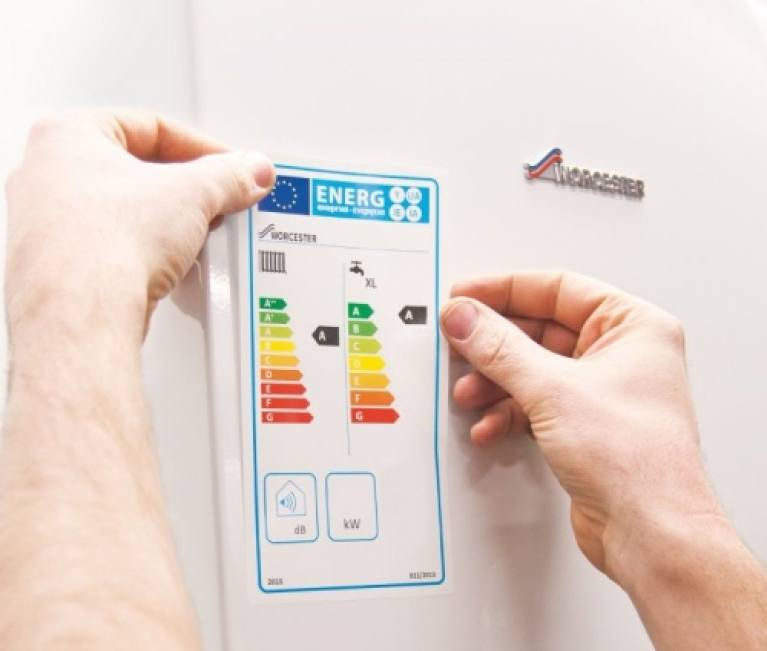 boiler with energy efficiency rating sticker on