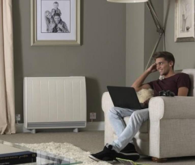 Dimplex Quantum storage heater in a living room