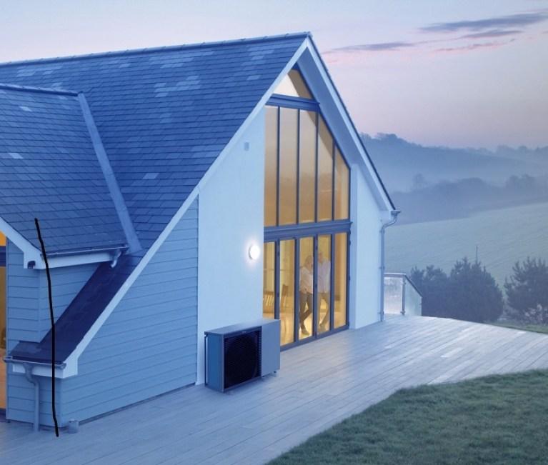 Modern house heated with Air Source Heat Pump