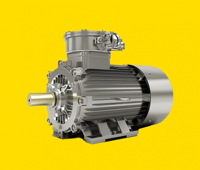 electric motor on yellow background