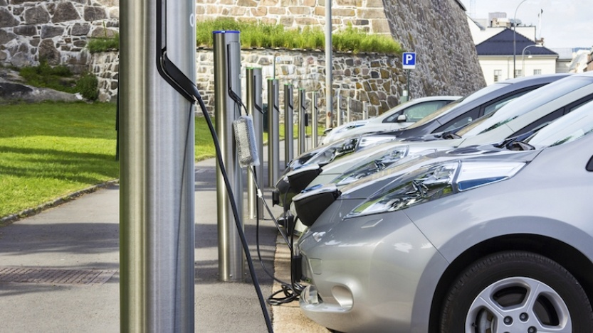 Row of electric cars