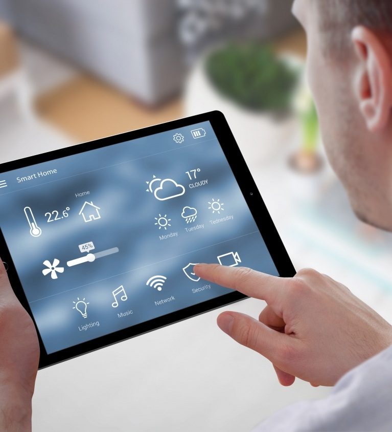 Smart home control on tablet.