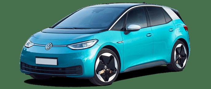 VW iD3 in light blue front three quarter shot