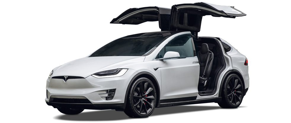 Tesla Model X in white with gull wing doors open