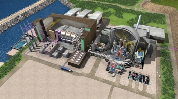 Cut out graphic of a nuclear power station