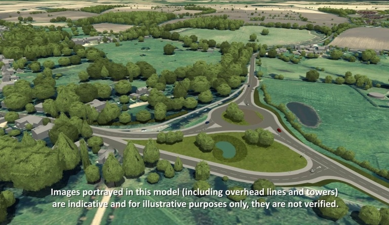 Watch video: Sizewell C CGI - Yoxford Roundabout