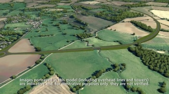 Watch video: Sizewell C | Stage 3 CGI | Two village bypass - view from West of Stratford St Andrew