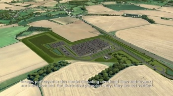 Watch video: Sizewell C | Stage 3 CGI | Southern park and ride - Wickham Market