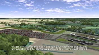 Watch video: Sizewell C | Stage 3 CGI | Northern park and ride - Darsham