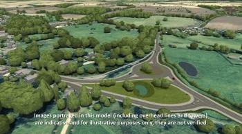 Watch video: Sizewell C | Stage 4 CGI | A12/B1122 Yoxford roundabout