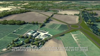 Watch video: Sizewell C | Stage 3 CGI | Two village bypass - view from East of Farnham