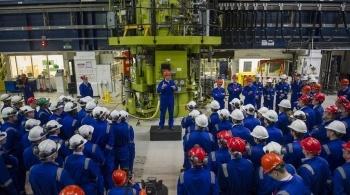 David Cameron addressing engineers inside a power station